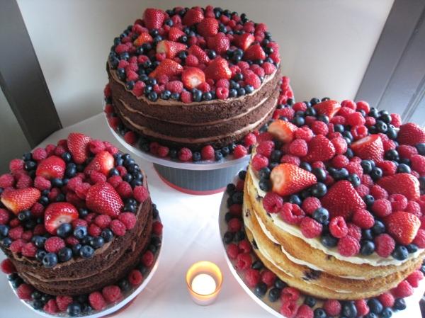 Trio of au naturel berry cakes