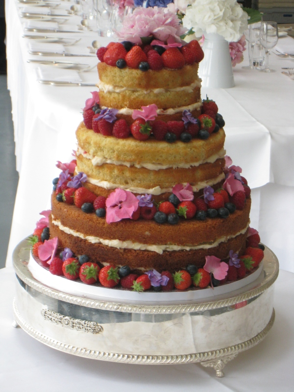 Three tier rustic cake