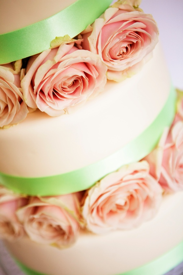 Blush rose blocked wedding cake by Tempting Cake. Image by EWP Photography