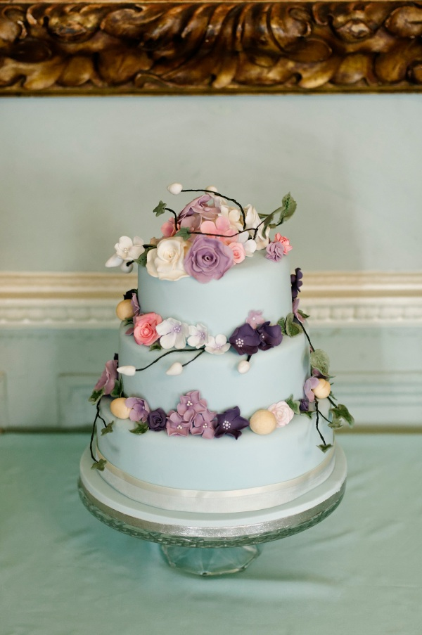 Powder Blue Sugar Flowers Cake by Tempting Cake. Image by Edward Webb Photography