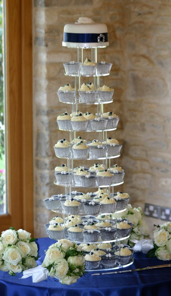 Navy and white cupcake tower by Tempting Cake