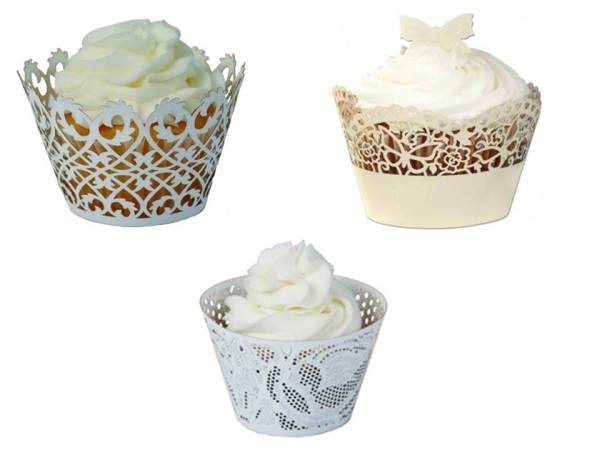 White lace cupcake wrappers