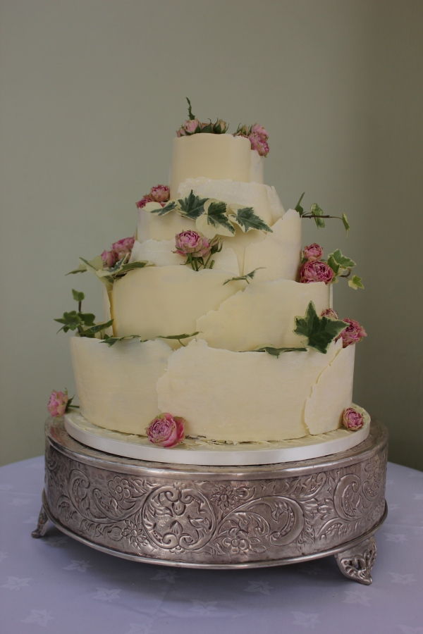 White chocolate curl wedding cake. Image by Tempting Cake